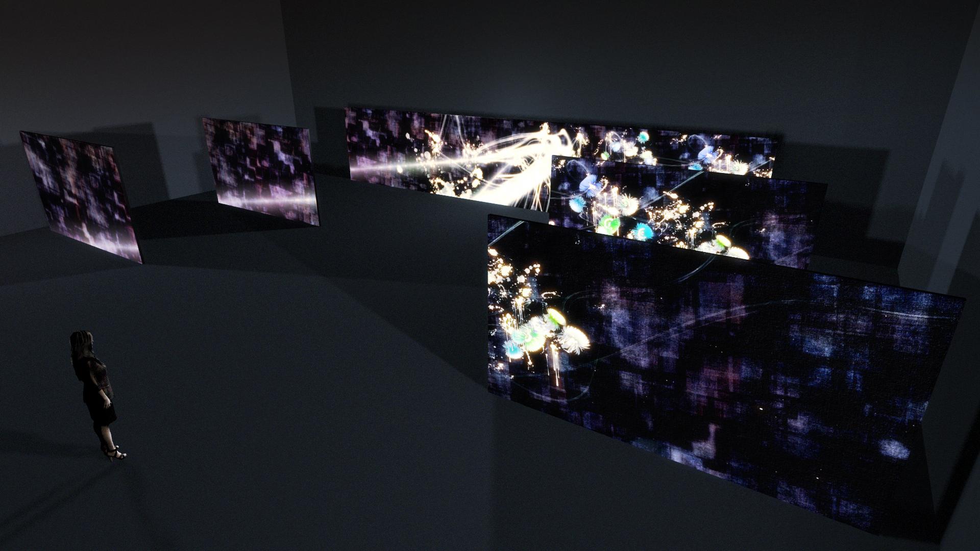 かごしまアートフェスタ2013 :チームラボ「追うカラス、追われるカラスも追うカラス、そして分割された視点(Light in the Dark)」