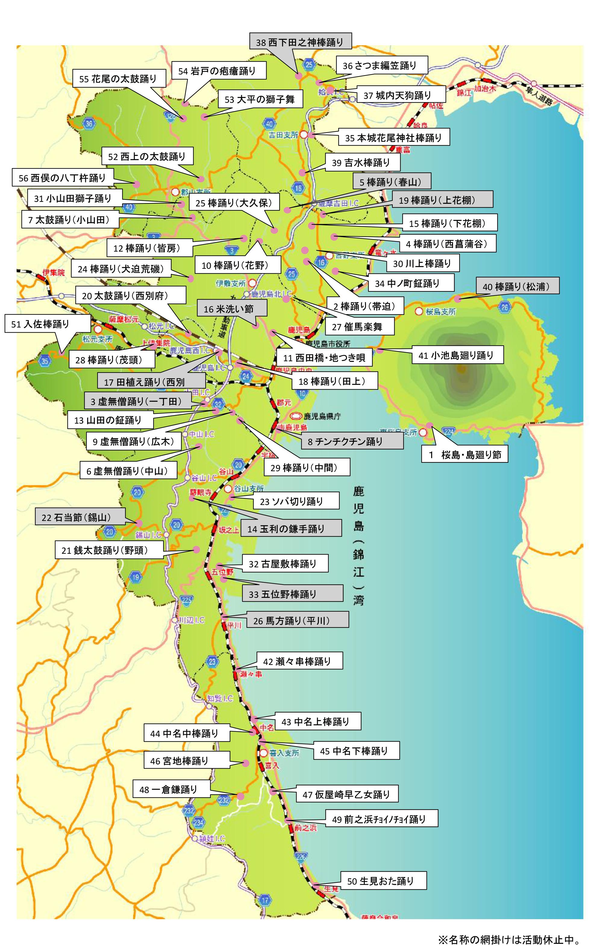 鹿児島市内の郷土芸能(位置図)20140228